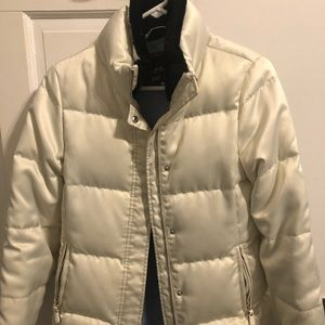 XS COACH Bone White Puffer Coat With Black Fur Col